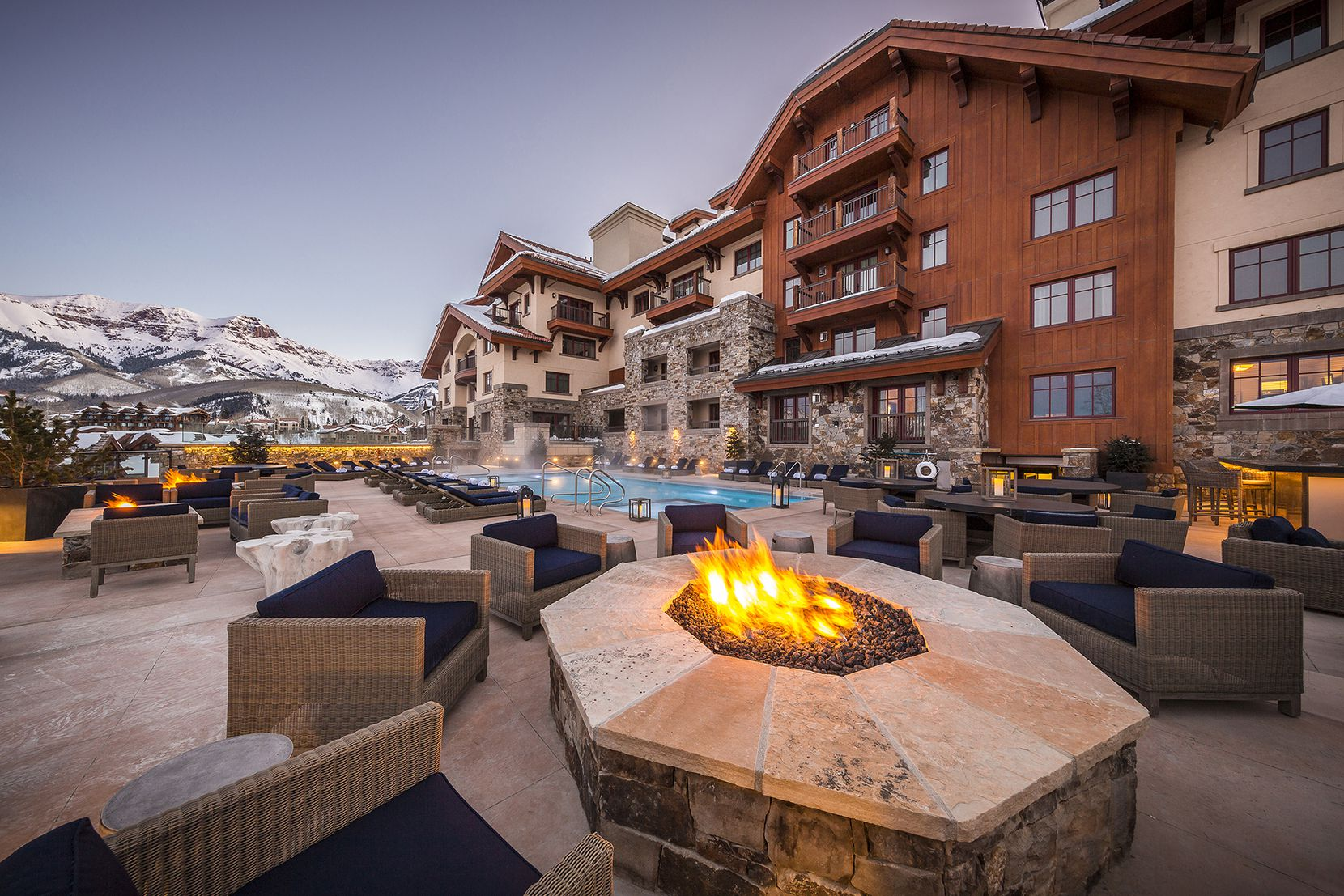 The Madeline Hotel offers fire pits, a pool, an ice rink and more as part of its ski-in, ski-out experience.