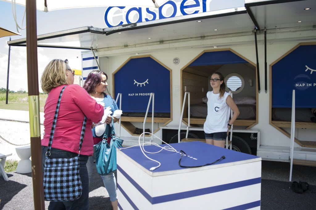 Kim Brashear and Cassia Sanchez discuss their Casper bed experience with Andria Cassidy, the Assistant Tour Manager for Casper's East Nap Tour.