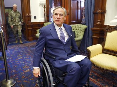 Gov. Greg Abbott, shown entering a March 29 coronavirus news briefing, has been happy to aggressively defend the powers and prerogatives of the Texas governorship. Only this year, that assertiveness during the COVID-19 pandemic has triggered blowback from staunchly conservative Republicans.