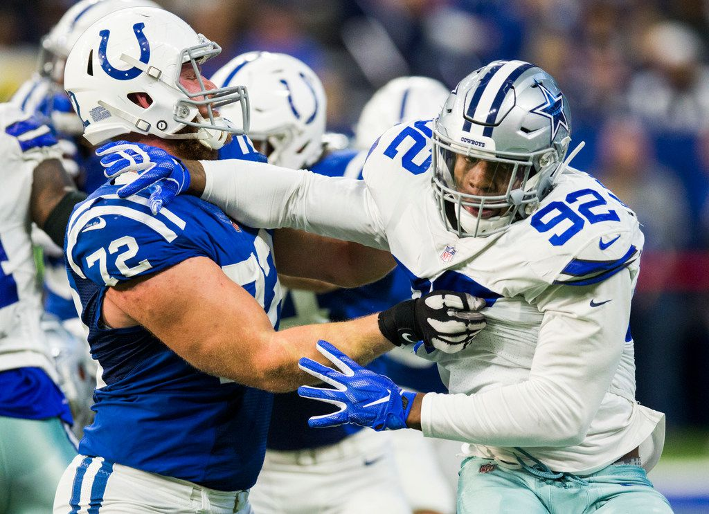 Dallas Cowboys defensive end Dorance Armstrong (92) squares off with Indianapolis Colts offensive tackle Braden Smith (72) during the fourth quarter of an NFL game between the Dallas Cowboys and the Indianapolis Colts on Sunday, December 16, 2018 at Lucas Oil Stadium in Indianapolis, Indiana. (Ashley Landis/The Dallas Morning News)