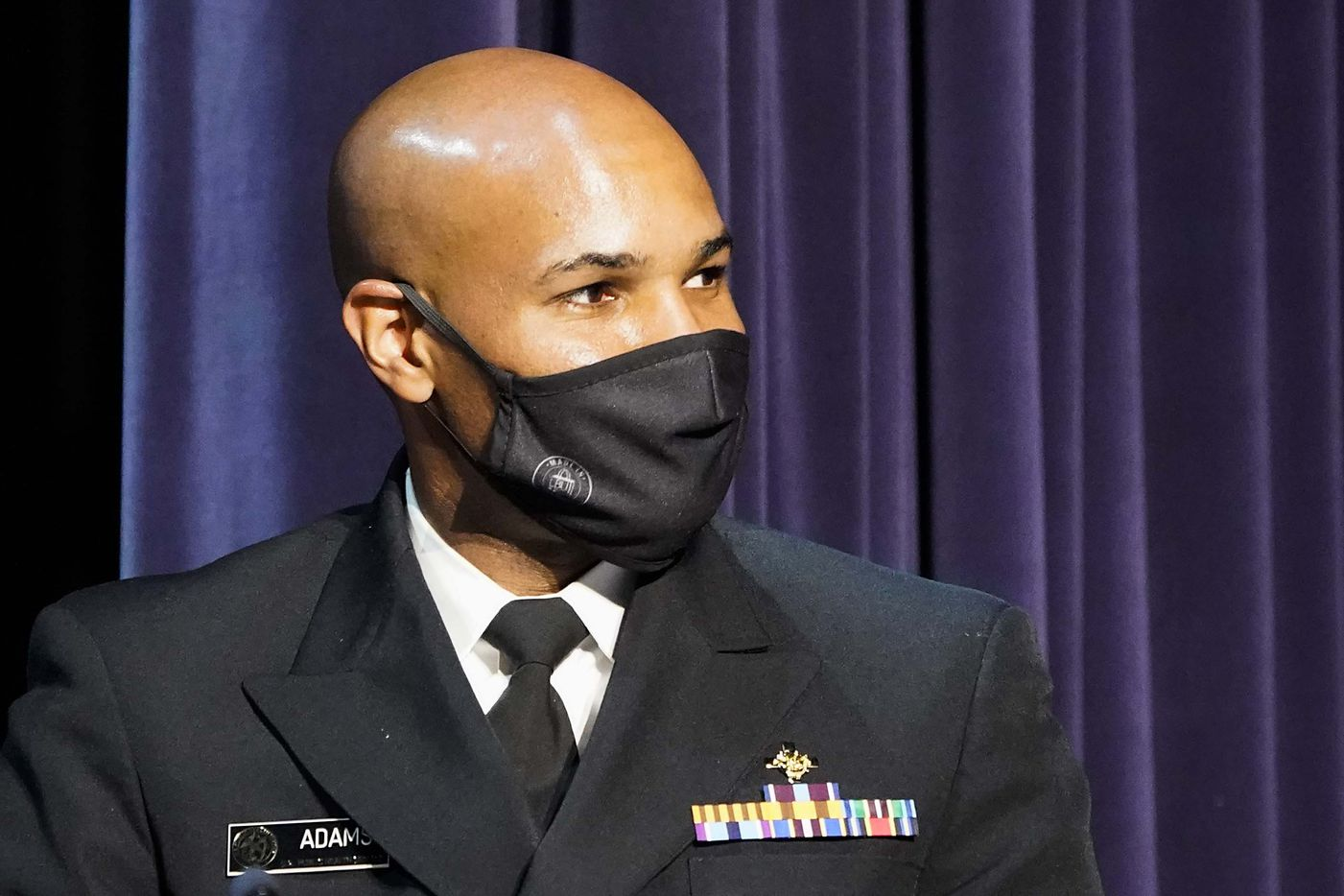 Surgeon General Jerome Adams listens to a speaker during a roundtable conversation about race relations and policing with President Donald Trump at Gateway Church Dallas Campus on Thursday, June 11, 2020, in Dallas. (Smiley N. Pool/The Dallas Morning News)