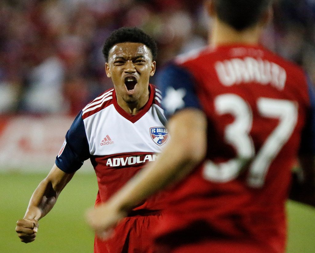FC Dallas midfielder Jacori Hayes (15) reacts as he approaches FC Dallas forward Maximiliano Urruti (37) to congratulate him on scoring a goal during the second half as FC Dallas hosted Real Salt Lake at Toyota Stadium in Frisco on Saturday, March 3, 2018.  (Stewart F. House/Special Contributor)