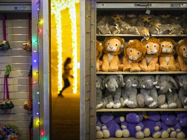 Plush toys are seen in the Holiday Village during Dallas Zoo Lights on Wednesday, Nov. 18, 2020, in Dallas. A toy drive in Garland will donate Christmas gifts to poor families in the Garland area this Christmas season.