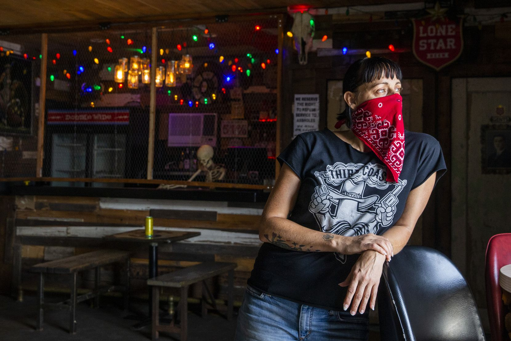 Owner Kim Finch poses for a portrait in the live music area of her bar, Double Wide, in Old East Dallas on Friday, June 26, 2020.