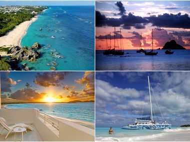 From top left clockwise: Bermuda's coastline and its teal-blue water, a sunset in St. Barts, a catamaran tour in Turks and Caicos and a beachfront suite in Anguilla.