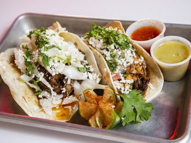 Brisket and chicken tacos at Taco Heads in Fort Worth, Monday, August 30, 2021. (Brandon Wade/Special Contributor)
