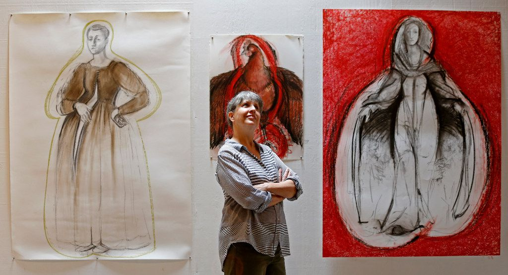Nancy Rebal, who helped Kyle Hobratschk with the founding of 100 West, poses in front of her painting inside her art studio and gallery in downtown Corsicana. Having used 100 West as a studio before the residency program, Rebal decided to acquire her own space. Her current studio is directly across the street from the 100 West building.