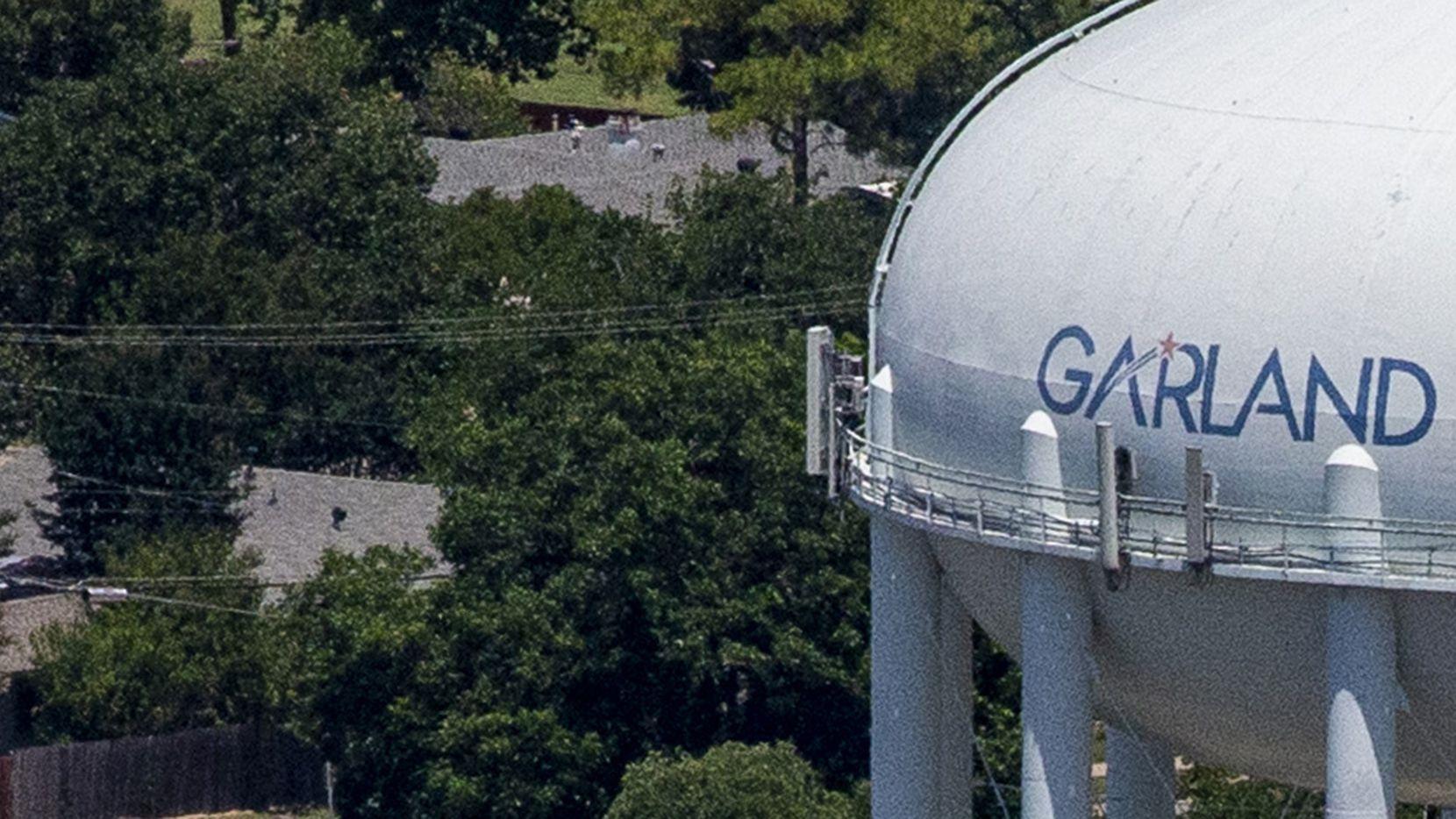 A Garland water tower in Garland, Texas, on Thursday, June 18, 2020. (Lynda M. Gonzalez/The Dallas Morning News)