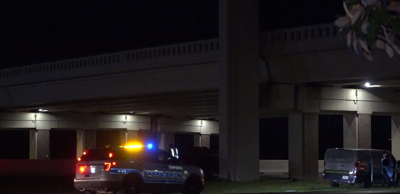 Police at the scene of a fatal crash Saturday night on U.S. Highway 80 in Mesquite.