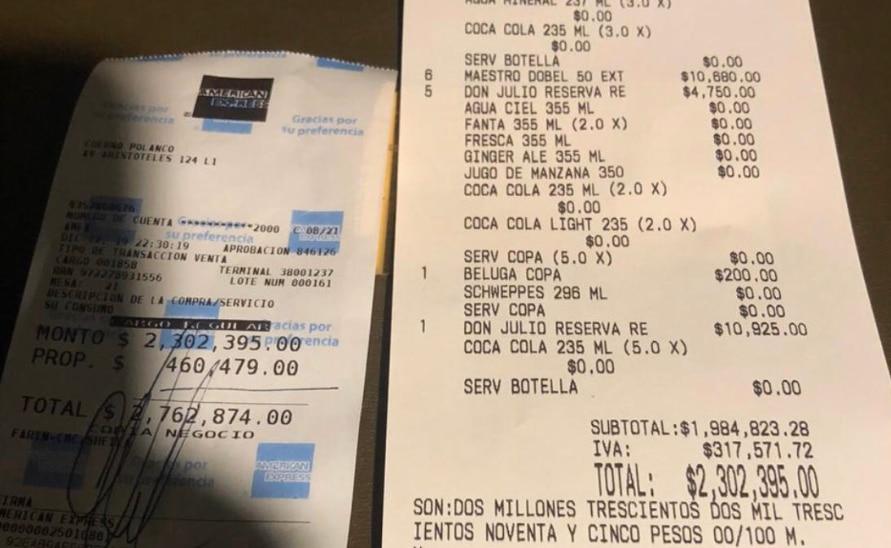 Directivos de la NBA dejaron propina de cerca de $25,000 dólares en un restaurante en la Ciudad de México.