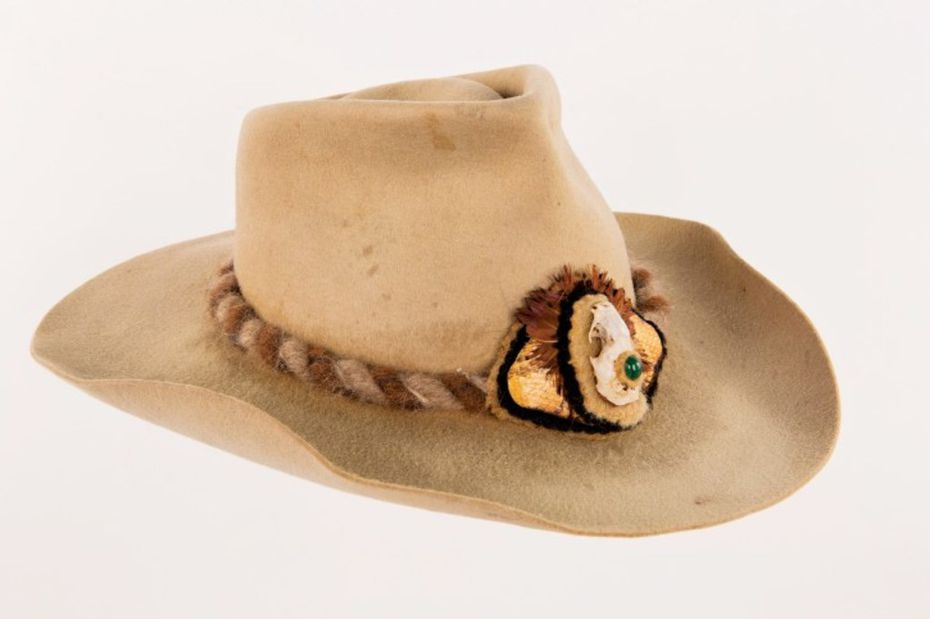 Willie Nelson gave fellow singer-songwriter Bobby Bare this hat embellished with a mink skull, gemstone, feathers and snake skin in the early 1970s.