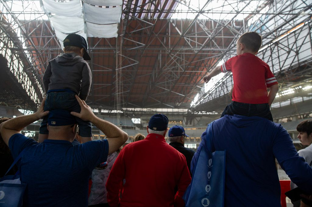 People check out the Globe Life Field during the Rangers' Peek at the Park fanfest on Jan. 25, 2020 in Arlington. (Juan Figueroa/ The Dallas Morning News)