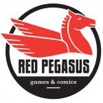 The former logo of Red Pegasus Games and Comics.