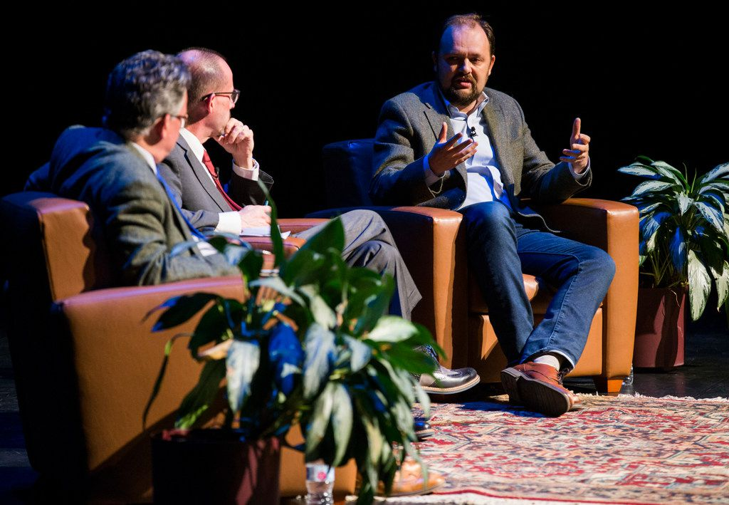 """Ross Douthat (right), a columnist at The New York Times, participates in a conversation with Austen Ivereigh (left), founder and coordinator of Catholic Voices, and moderated by John L. Allen Jr. (center), editor of independent Catholic news site Crux, on Wednesday at Moody Performance Hall in Dallas. The program, """"The Papacy in the 21st Century: Where are We, and Where are We Going?"""" was part of the University of Dallas' 2018 Eugene McDermott Lecture series."""