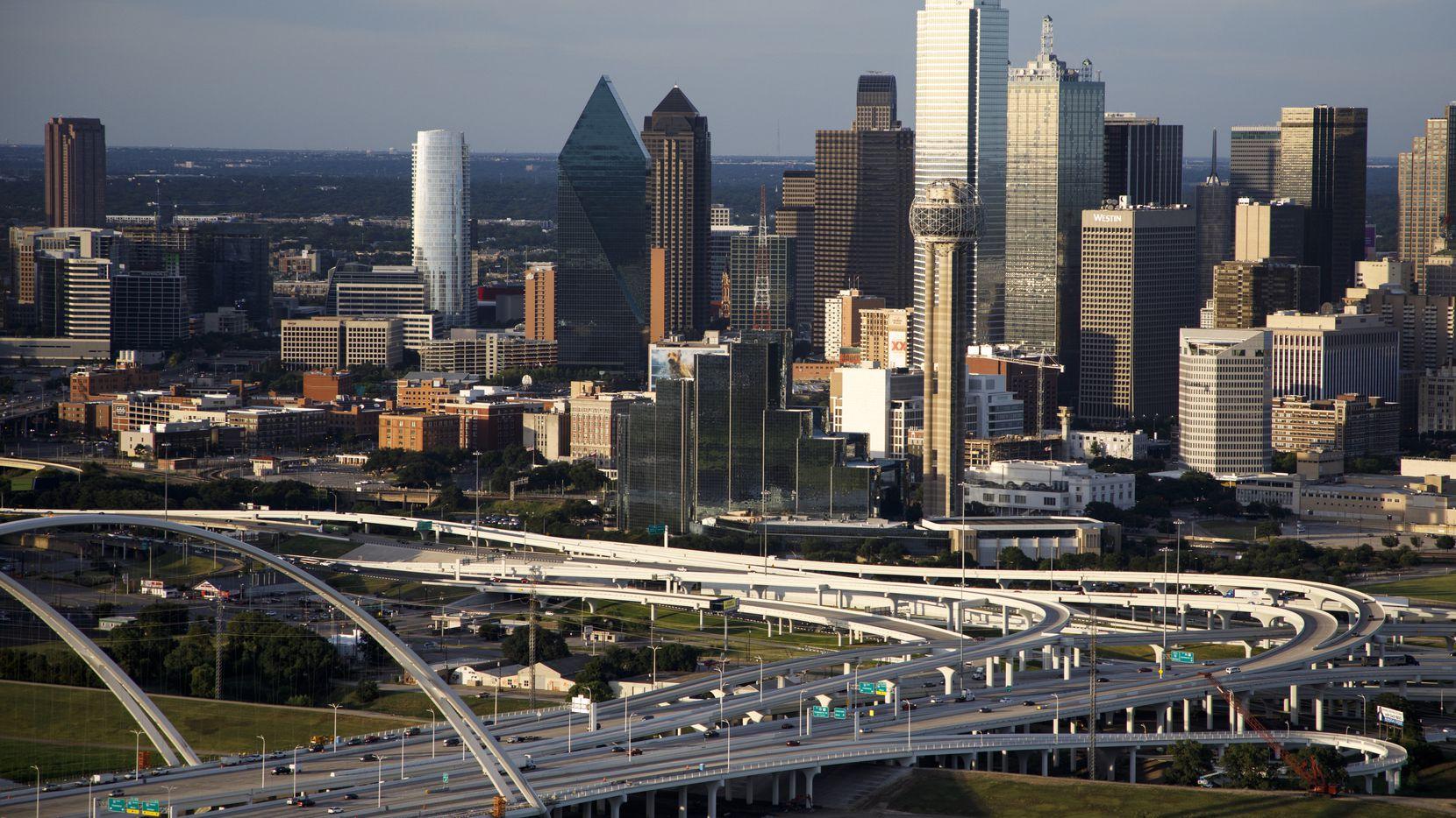 The downtown skyline and Margaret McDermott Bridge