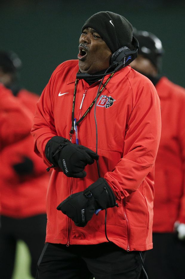 Duncanville head coach Reginald Samples argues for a call during the first half of a Class 6A Division I Region II final high school football game against DeSoto, Saturday, January 2, 2021.  Duncanville won 56-28. (Brandon Wade/Special Contributor)