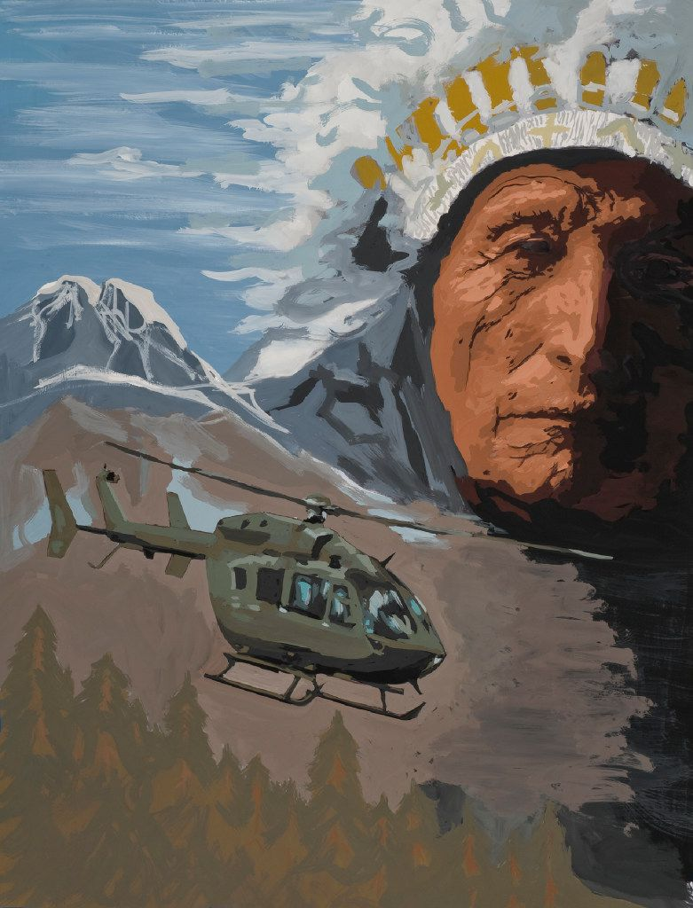 Dave Smith, Spirit of the Lakota, 2016, Gouache on paper 28 x 42 inches Courtesy of Airbus Helicopters, Inc.