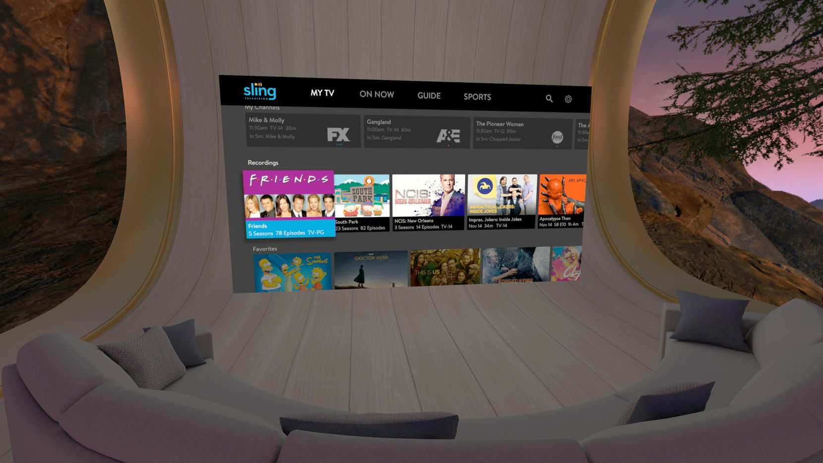 The Sling TV interface inside the Oculus Go goggles.