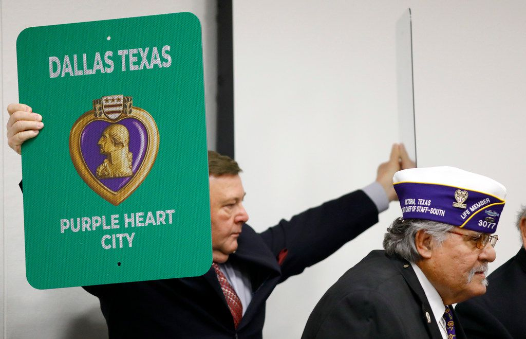 Dallas City Council member Rickey Callahan helped proclaim Dallas a Purple Heart City before a council briefing in September.