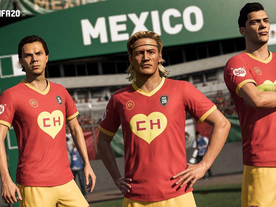 Sebastián Córdoba(izq), Luis Hernández y Raúl Jiménez (der) son parte de la promoción del uniforme del Chapulín Colorado en el videojuego FIFA 20.