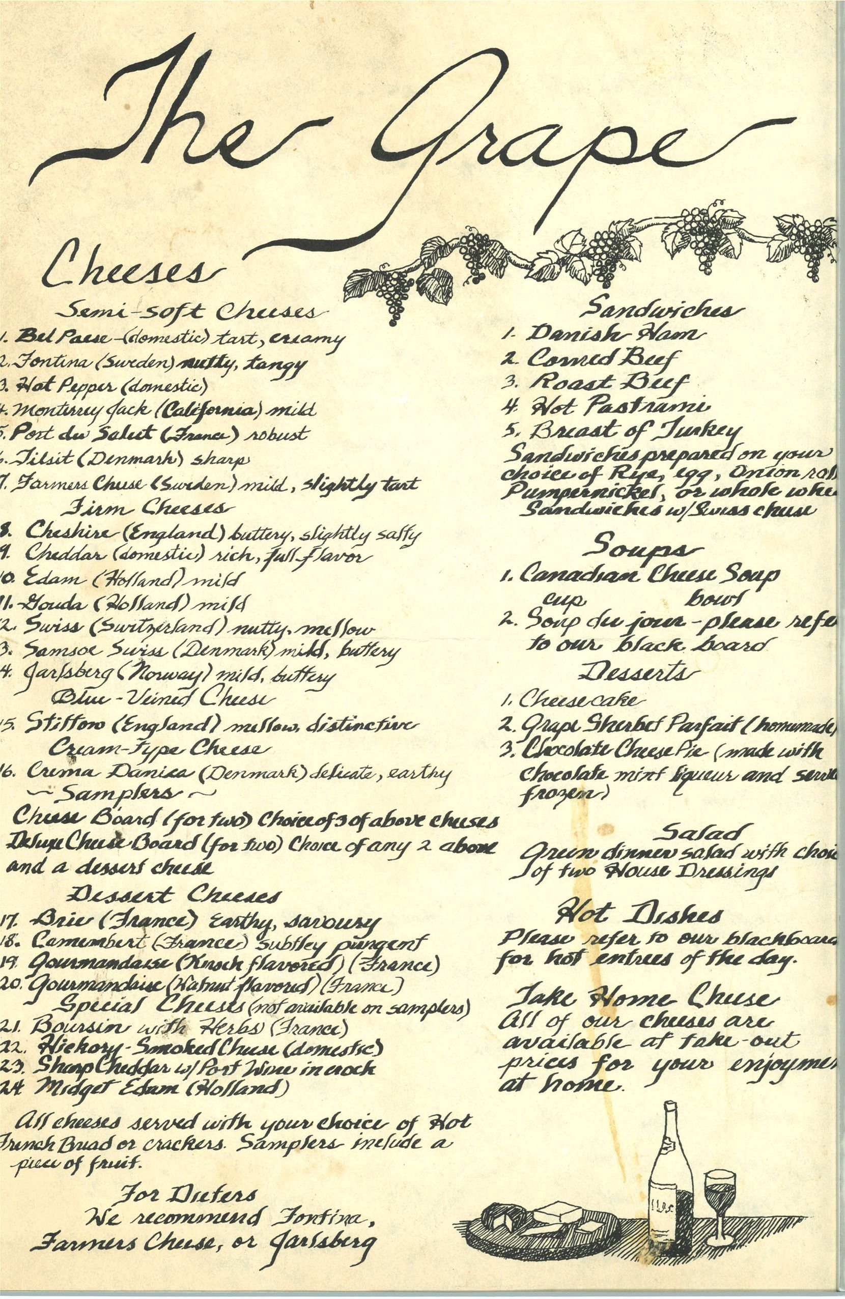 The Grape's opening menu from October 1972.
