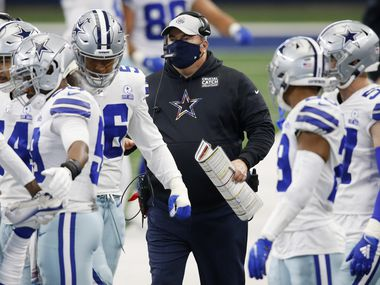 Cowboys head coach Mike McCarthy makes his way up the sideline during a game against the Browns on Saturday, Oct. 4, 2020, at AT&T Stadium in Arlington.