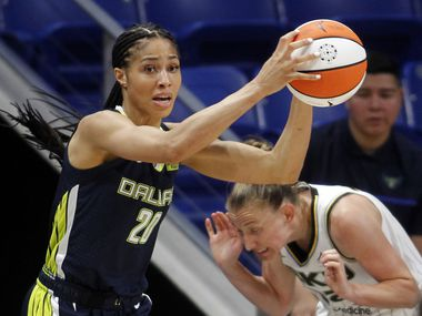 Dallas Wings forward Isabelle Harrison (20) pulls down a rebound as Chicago Sky guard Courtney Vandersloot (22) reacts during second half action. Chicago defeated Dallas 91-81. The two WNBA teams played their game at College Park Center in Arlington on June 30, 2021.