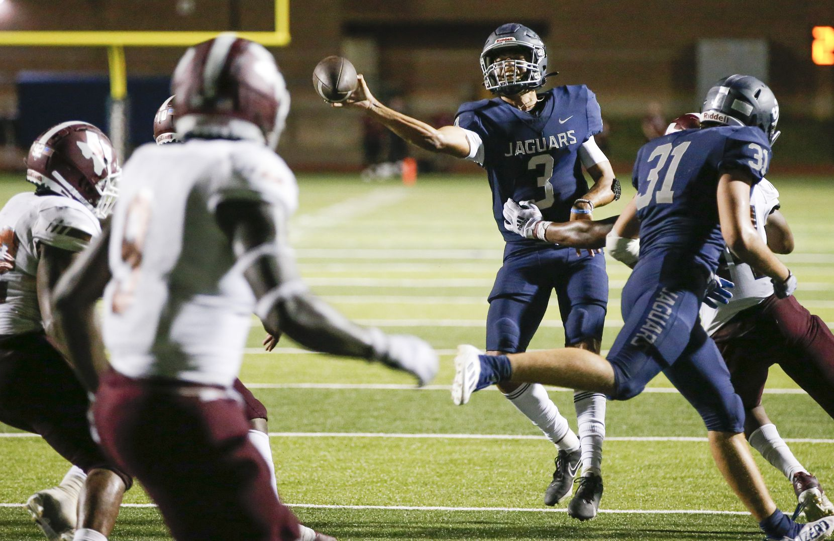 Flower Mound senior quarterback Nick Evers (3) throws during the second half of a high school football game against Mesquite at Flower Mound High School, Friday, August 27, 2021. (Brandon Wade/Special Contributor)