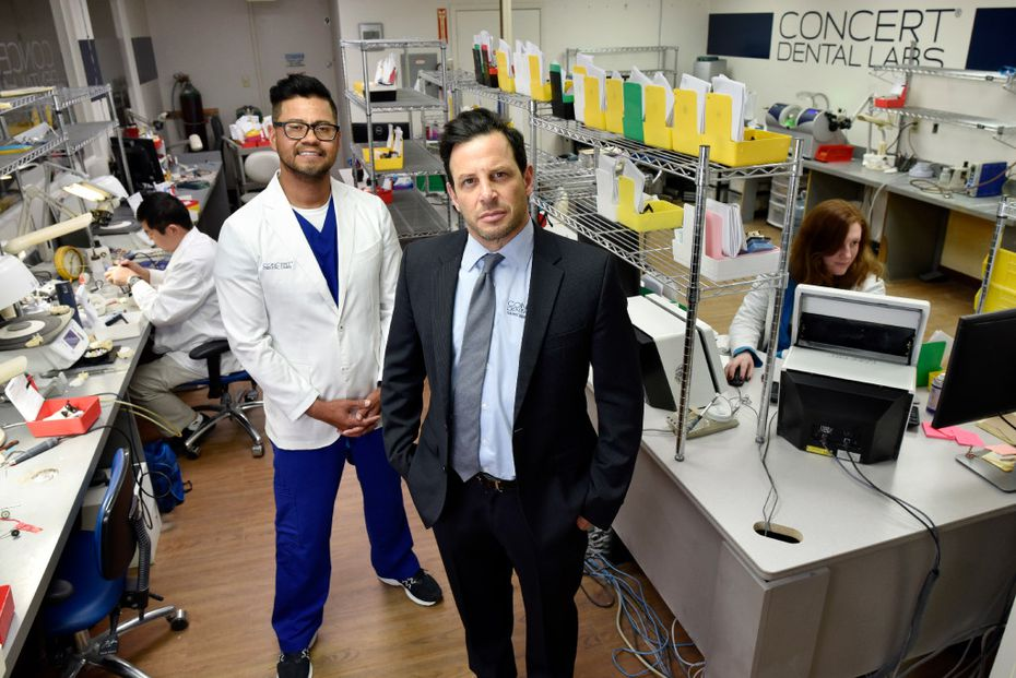 Vice president and certified dental technician, Felix Silva, left, and founder David Lesh, of Concert Dental Labs, at their offices in Richardson, Friday, April 28, 2017. Ben Torres/Special Contributor