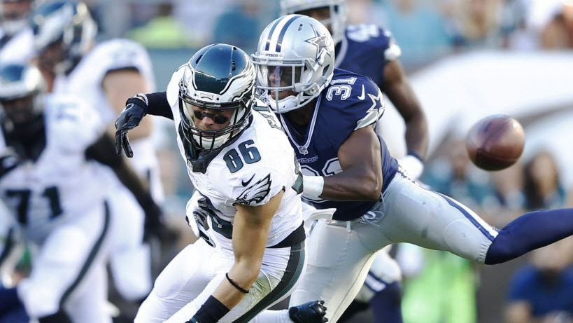 Ex-Dallas Cowboys cornerback Byron Jones (31) defends as Philadelphia Eagles tight end Zach Ertz (86) misses the pass during the first half of play at Lincoln Financial Field in Philadelphia, on Sunday, September 20, 2015.