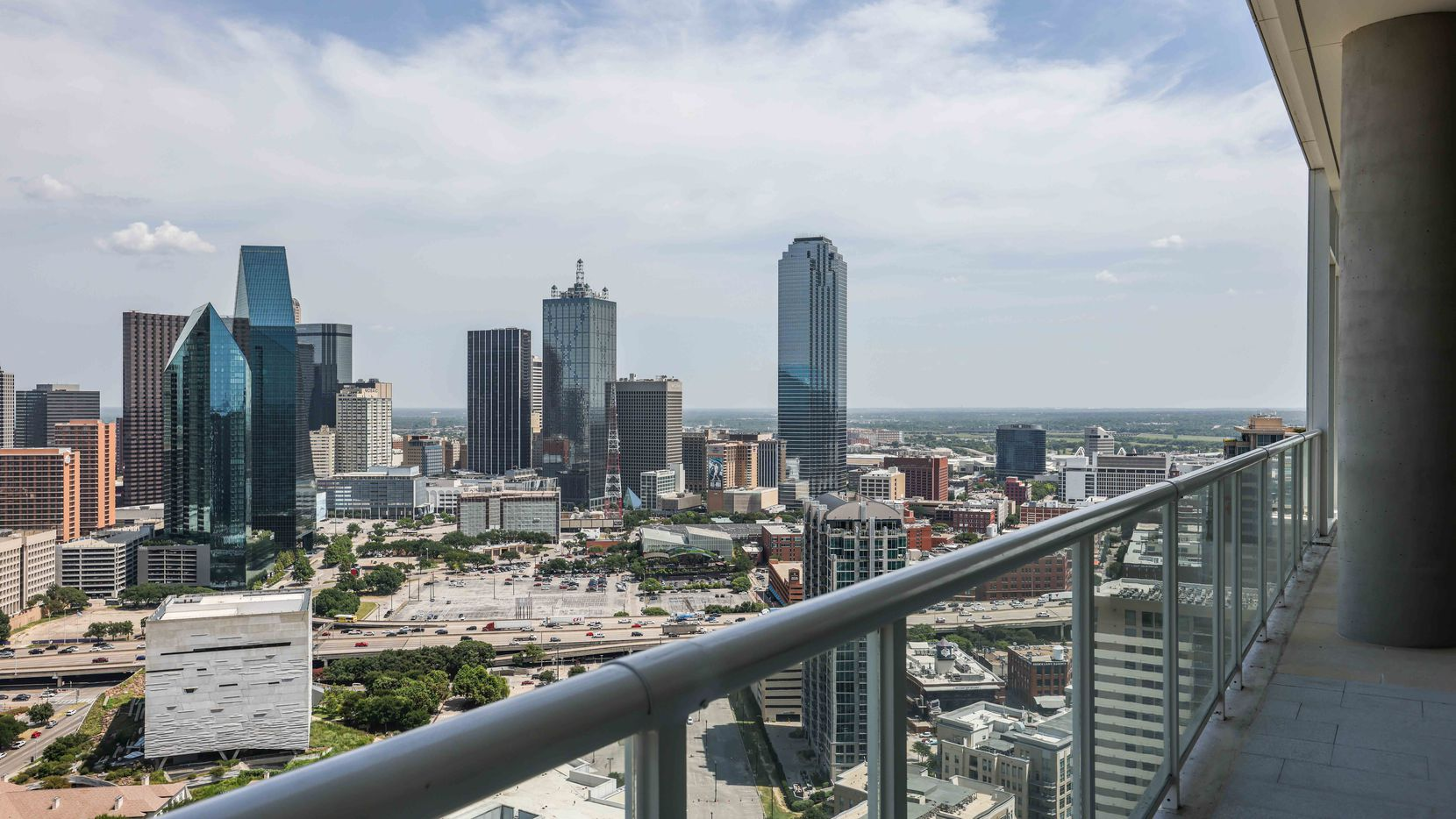 View from upcoming Vic's Lounge and Skyline Terrace, a 37th level amenity space at The Victor in Dallas on Tuesday, July 27, 2021. (Lola Gomez/The Dallas Morning News)