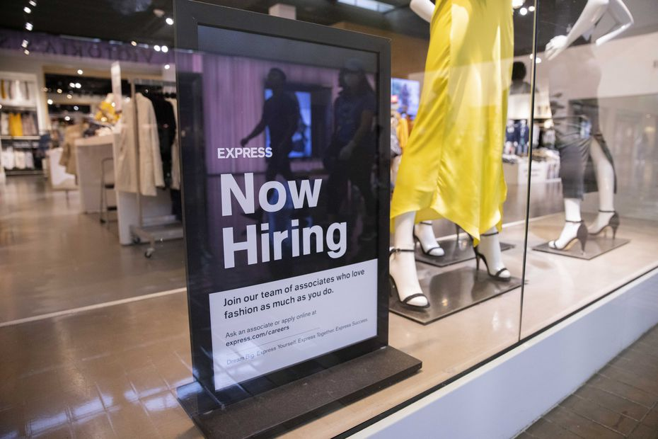 A hiring sign at an Express store in Dallas.