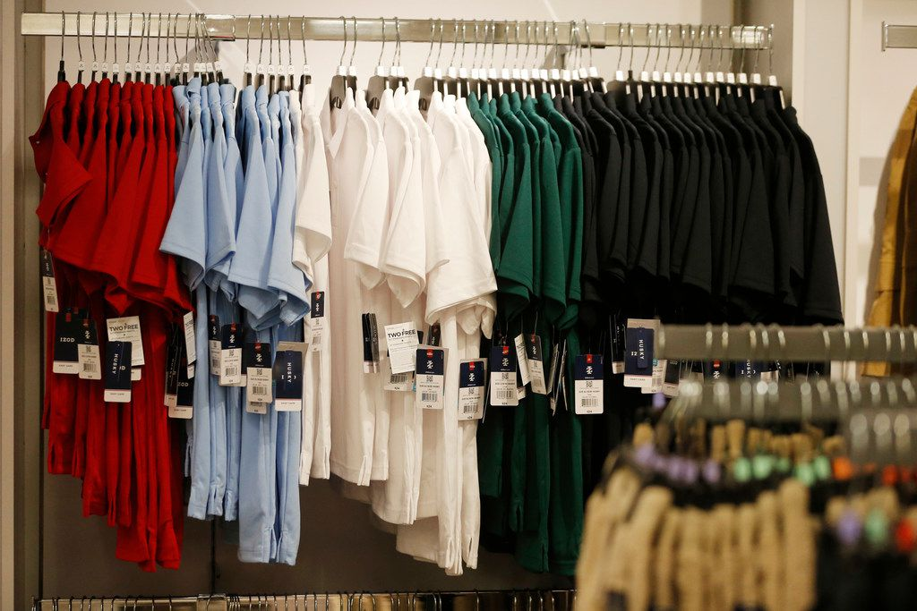 Shirts for sale in the school uniform section at J.C. Penney inside Stonebriar Mall in Frisco, Texas. School uniforms are a big seller this tax-free shopping weekend in Texas, Aug. 9-11, 2019. (Vernon Bryant/The Dallas Morning News)