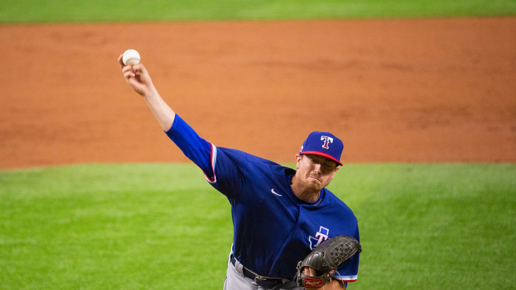 Texas Rangers pitcher Kyle Gibson (44) pitches during a simulated game in the Texas Rangers third Summer Camp workout at Globe Life Field on July 5, 2020 in Arlington.