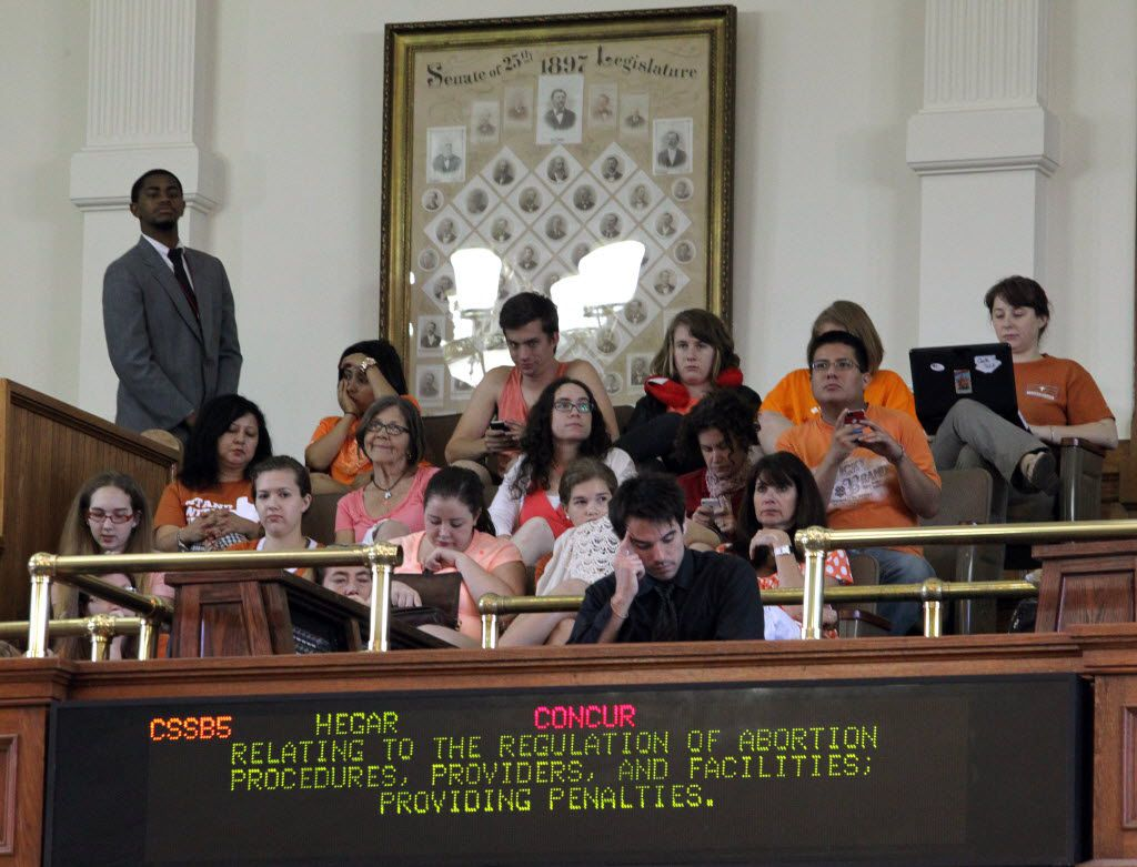The gallery listened as state Sen. Wendy Davis filibustered during the final day of the legislative special session on June 25, 2013.