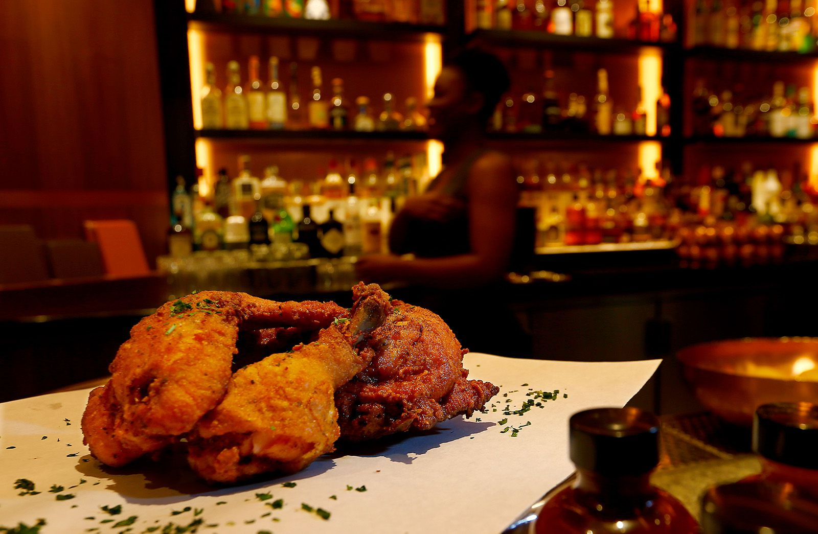 Fried chicken is among the Southern fare on the menu at Shaquille's in L.A. Live.
