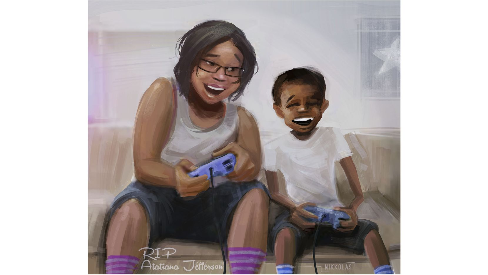 Nikkolas Smith painted this portrait of Atatiana Jefferson and her young nephew, depicting what she was doing before she was fatally shot by a Fort Worth police officer early the morning of Oct. 12.