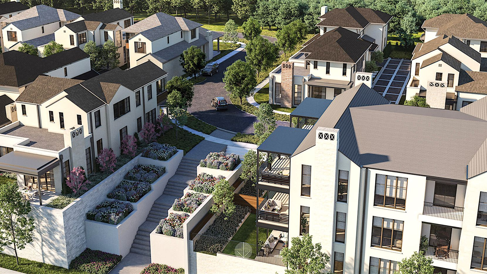 The new Preston Hollow Village residential community will include 75 houses and condos.