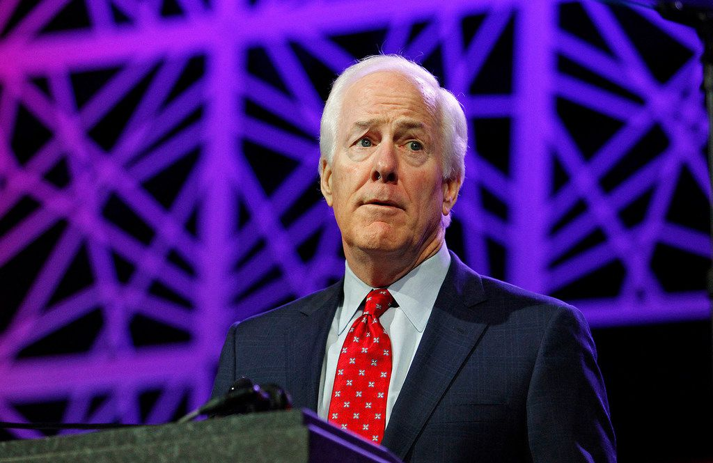 Sen. John Cornyn (R-Texas) speaks during the Republican Party of Texas state convention on May 13, 2016, in Dallas. (Paul Moseley/Fort Worth Star-Telegram/TNS)