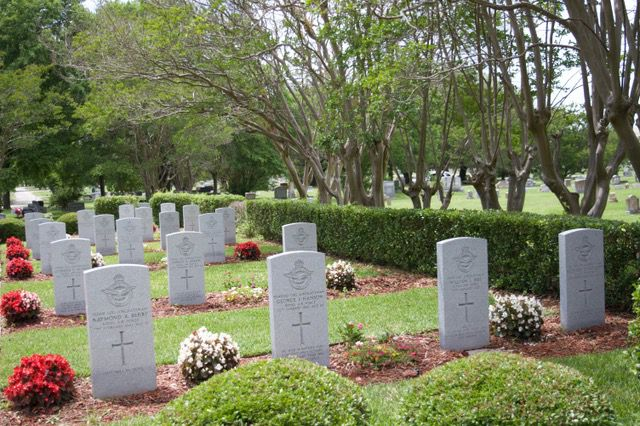 Twenty Royal Air Force cadets who died while learning to be pilots at the No. 1 British Flying Training School in Terrell are buried in Oakland Cemetery.