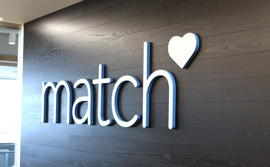 The lobby at Match Group's headquarters at 8750 N. Central Expressway in Dallas.