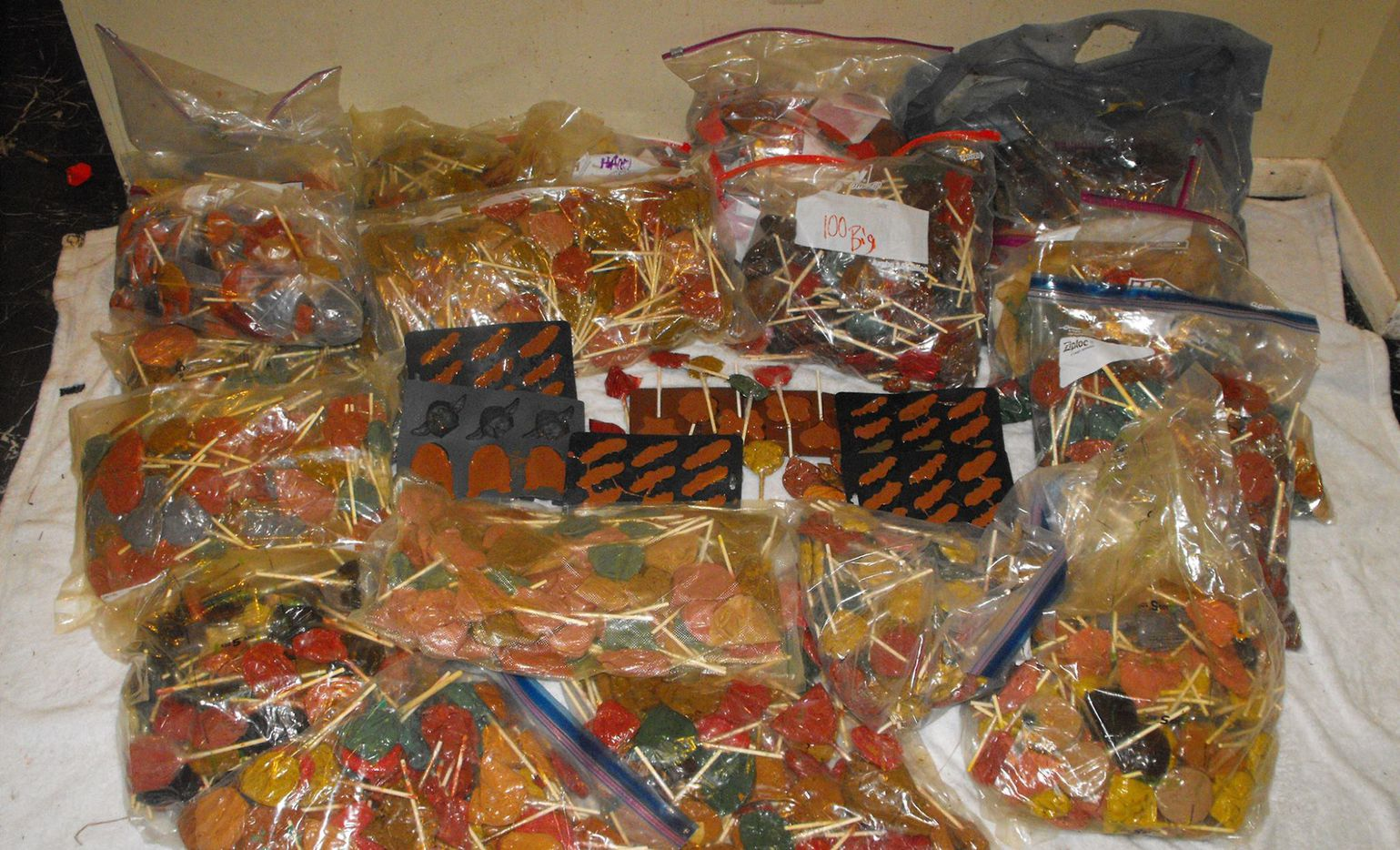 Nearly $1 million worth of meth lollipops were found in a home in Spring, near Houston on Tuesday. The meth pops were shaped like butterflies, flowers, bats and various characters. Officials believe they were made to entice children.