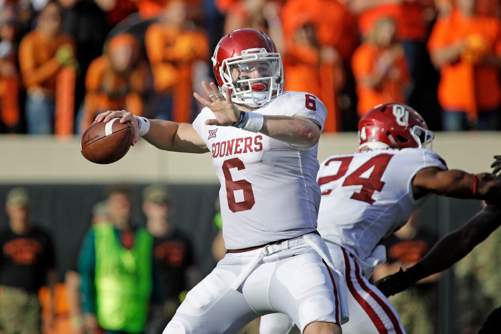 STILLWATER, OK - NOVEMBER 04: Quarterback Baker Mayfield #6 of the Oklahoma Sooners looks to throw against the Oklahoma State Cowboys at Boone Pickens Stadium on November 4, 2017 in Stillwater, Oklahoma. (Photo by Brett Deering/Getty Images)