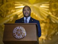 Dallas Mayor Eric Johnson delivers his State of the City address at The Hall of State in Fair Park in Dallas Tuesday, December 8, 2020. (Brandon Wade/Special Contributor)