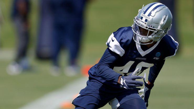 Dallas Cowboys rookie cornerback Nahshon Wright (40) runs through a drill during rookie minicamp at The Star in Frisco, Texas, Saturday, May 15, 2021.