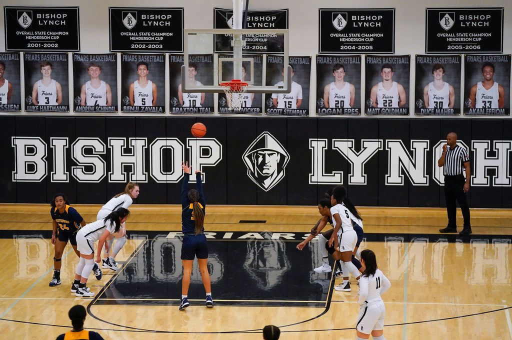 Prestonwood Christian guard Jordan Webster (32) shoots a free throw during a TAPPS 2-6A high school girls basketball game against the Bishop Lynch on Friday, Feb. 7, 2020, in Dallas. Bishop Lynch won the game 59-54. (Smiley N. Pool/The Dallas Morning News)