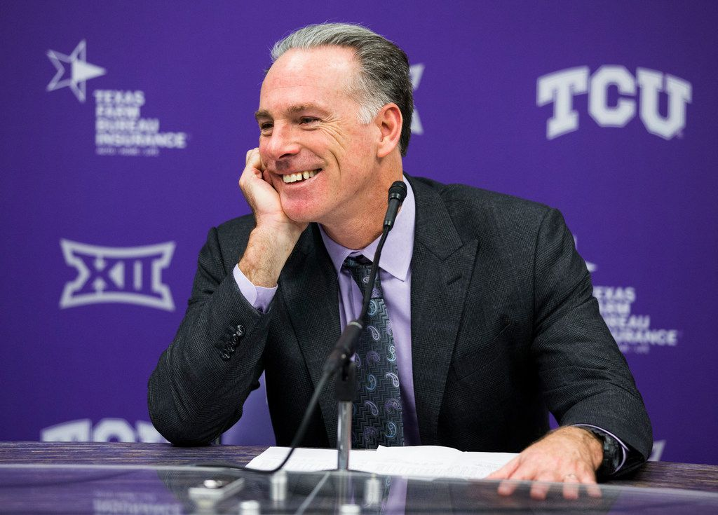 TCU Horned Frogs head coach Jamie Dixon speaks to reporters after an NCAA mens basketball game between Baylor and TCU on Saturday, February 29, 2020 at Ed & Rae Schollmaier Arena on the TCU campus in Fort Worth. TCU won 75-72. (Ashley Landis/The Dallas Morning News)
