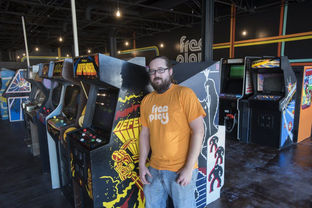Corey Hyden, owner of Free Play, a retro arcade is set to open in Richardson.  After a $10 cover the games are free.