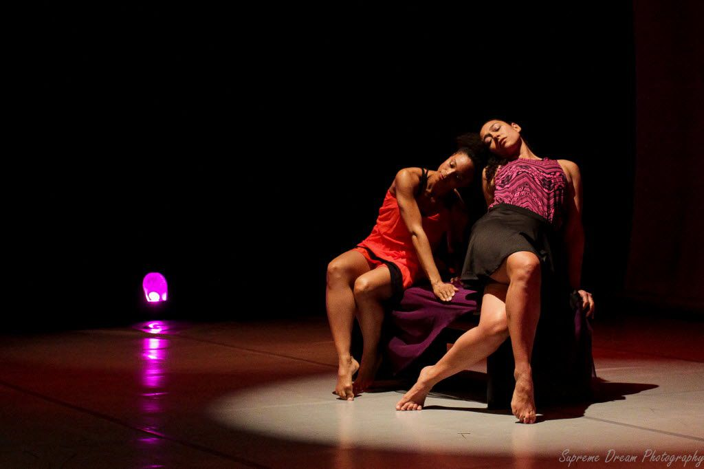 """Tina Mullone (left) and Lela Bell Wesley of Beckles Dancing Company perform Loris Beckles' Claret Tango at the Modern Art Museum of Fort Worth. They will revive the piece as part of the upcoming concert, """"Pomare Plus,"""" at the South Dallas Cultural Center."""