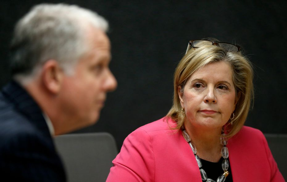 Lillian Salerno, Democratic candidate for the 32nd Congressional District, listens to candidate Brett Shipp during a meeting with the Dallas Morning News editorial board.